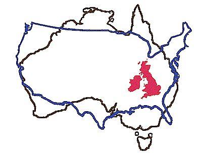 Size of Australia versus North America versus Ireland