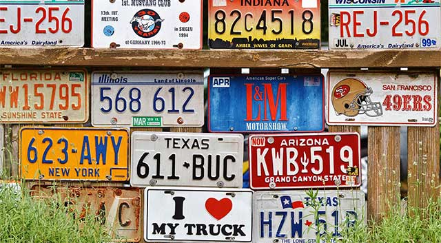 license plates with different colors
