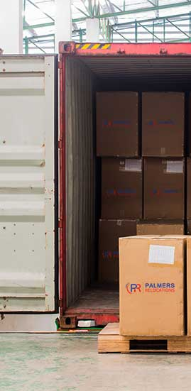 Container with Palmers Boxes Inside