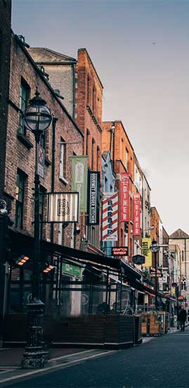 Street with shops in Dublin Ireland