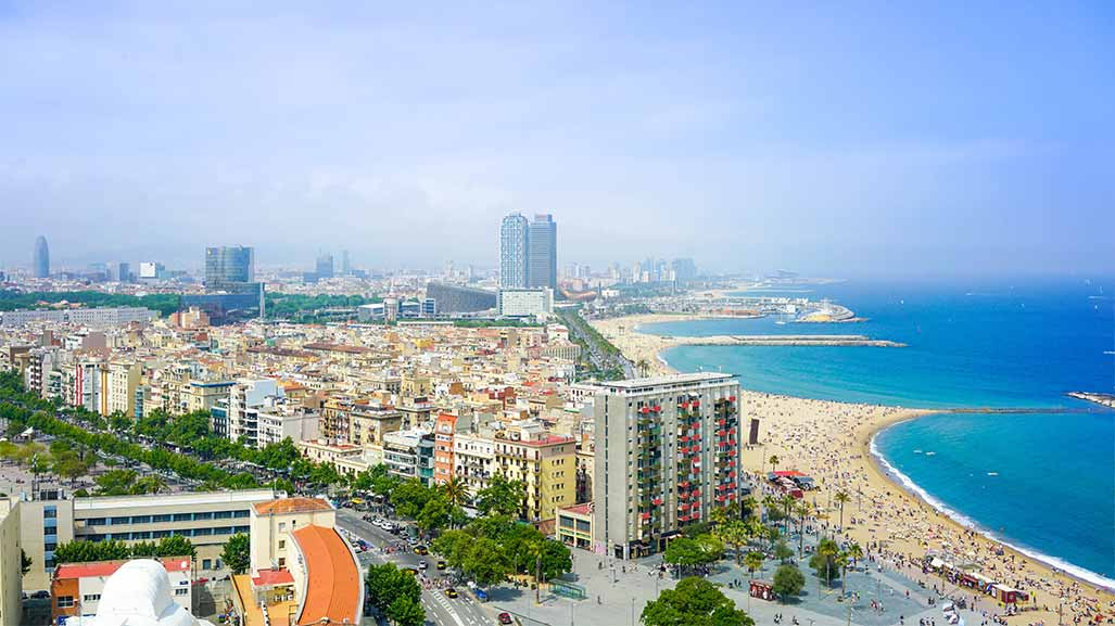 aerial view of barcelona in spain during day time