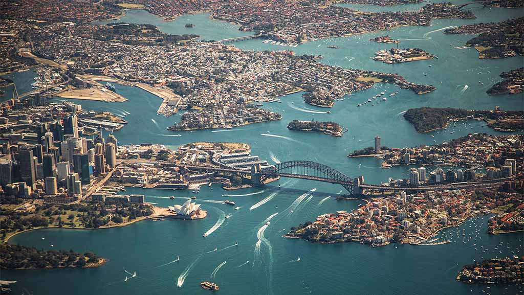 aerial view of sydney the opera house and the harbour bridge