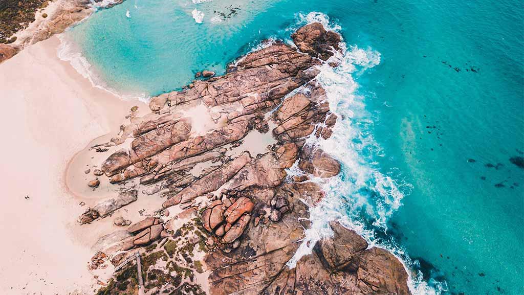 aerial view of the ocean in western australia