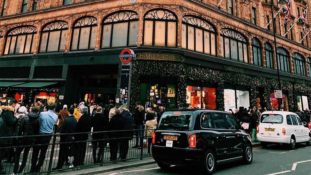 busy street in london in the uk