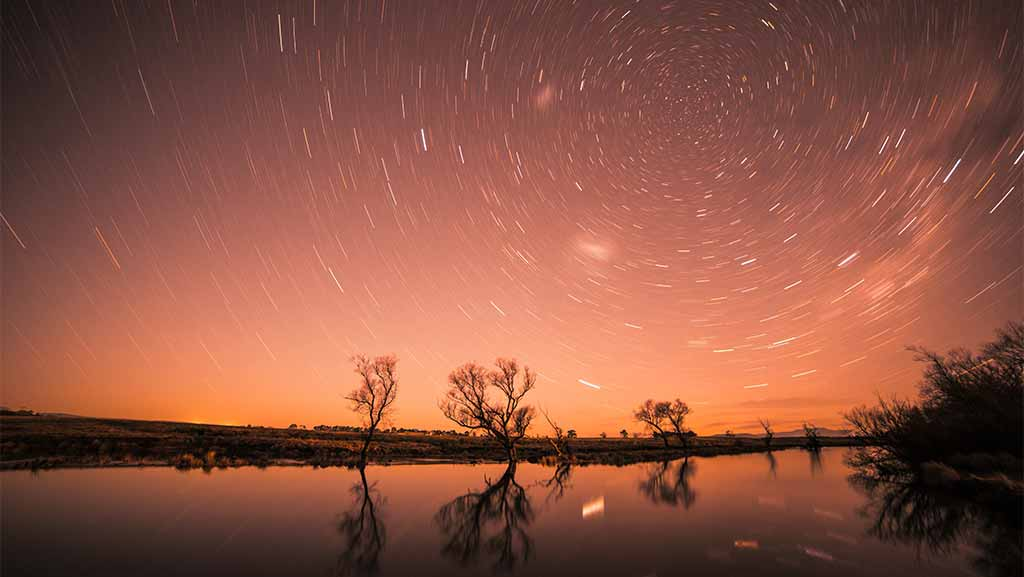 Landscape at night in South Australia