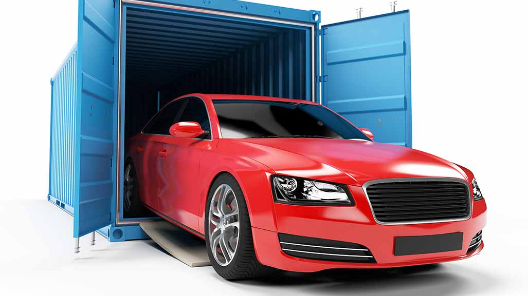 Car in a shipping container