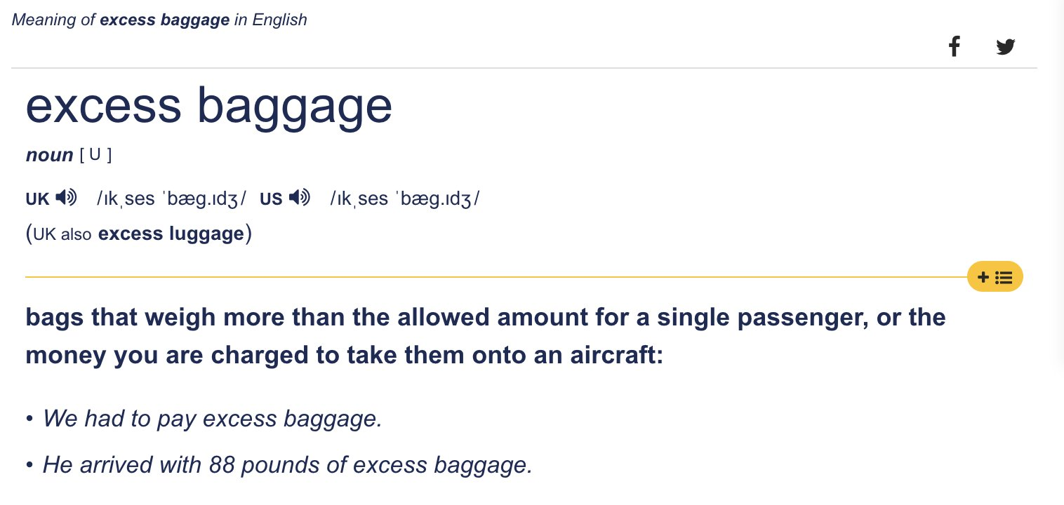 Excess baggage definition Cambridge dictionary